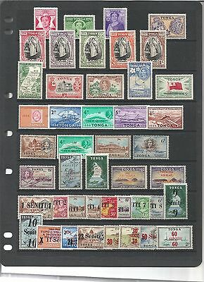 Tonga collection of self adhesive stamps and coins, circa 1950 - 60's mint