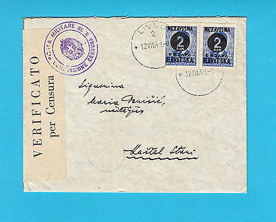WW2 CROATIA EARLY NDH travelled 1941. * NDH OVERPRINT + ITALY OCCUPATION CENSURE