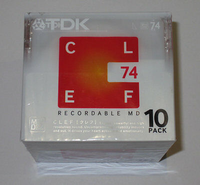 Ten (10) minidisc TDK CLEF MD 74 '2006 (new and sealed)