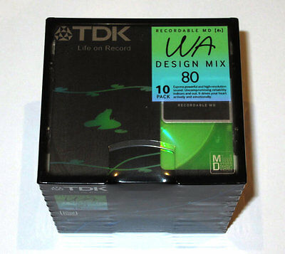 Ten (10) minidisc TDK WA Design Mix MD 80 '2006 RARE (new and sealed)