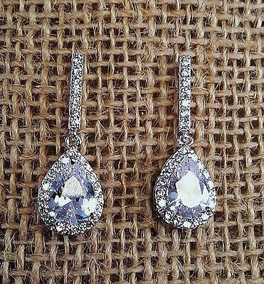 Brilliant Bridal Tear Drop CZ Pierced Earrings White Gold Plated
