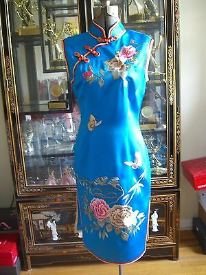 Blue Chinese Cheongsam Silk Floral Embroidered Dress 8
