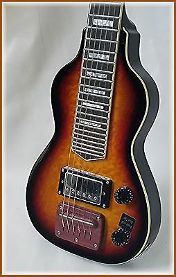 Dillion hand picked 6 string lap steel in 3 tone sunburst with quilt top & back.