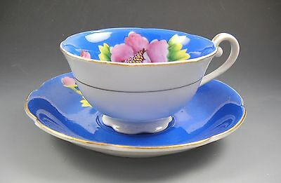 CMC Made in Occupied Japan Blue with Pink Flower Porcelain Tea Cup and Saucer