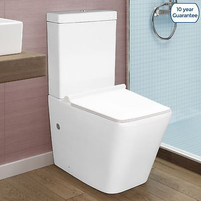 Tesner Bathroom White Close Coupled Toilet Wc Pan Seat Ceramic Dual Flush Button