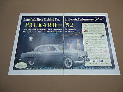Vintage 1952 Packard Car Automobile 2 Page Ad Advertising