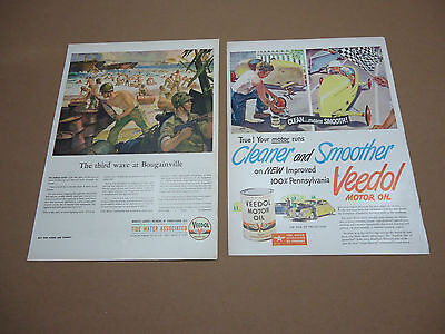 Set of 2 Vintage Veedol Motor Oil Automotive Ads Advertising Gas Transportation