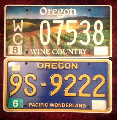 Oregon Graphic License Plates Wine Country & 150 Anniversary Pacific Wonderland