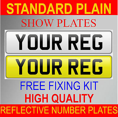 High Quality Reg Number Plates Show Plates Front & Rear Pair Plain Standard