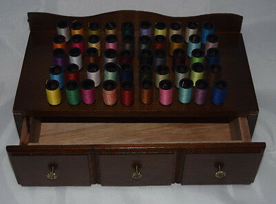 Wooden Sewing Chest with 50 Spools of assorted color threads