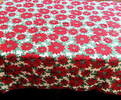 Vintage Christmas Poinsettia Tablecloth 60x82 Oblong Textured Cotton Blend