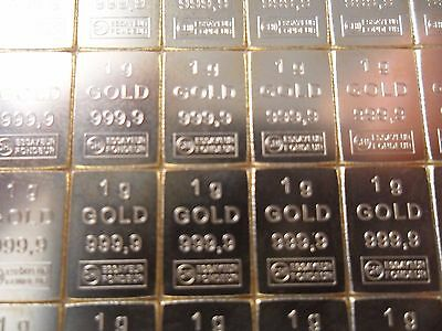 Lingot or 1 gramme / or pur 24 carats 99,999 % / gold bar 1 gr