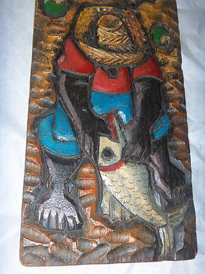 "Vintage Hand Carved Wood Bas Relief Latin Caribbean Fisherman 16x6"" Plaque"