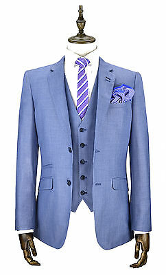 Mens Cavani Light Blue Suit Sky Tailored Fit 3 Piece Wedding Formal Suit Italian