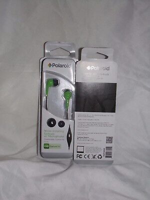 18 Polaroid Noise Isolating Ear buds W/MICROPHONE custom fit Green Only