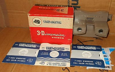 VINTAGE VIEW-MASTER 3D VIEWER IN BOX viewmaster + 3 Slides