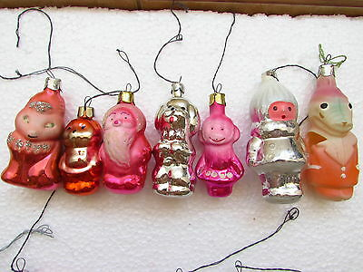 Lot of 7 Vintage USSR Russian Christmas New Year Glass Ornaments Animals