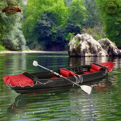 Outdoor Camping 2 Person Kayak Inflatable Canoe Dinghy Boat Raft Sailing Paddles