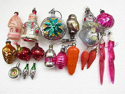 Lot of 19 Vintage USSR Russian Christmas New Year Glass Ornaments