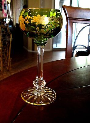 Vintage ST. LOUIS French Crystal Massenet Gold Encrusted Chartreuse Hock Wine