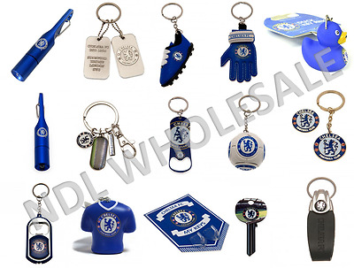 Chelsea FC Keyring Badge Bag Charm Door Key Bottle Opener Torch Leather Gift