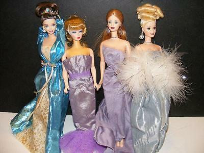 LOT 4 BARBIE DOLLS Dress Gowns Clothes Jewelry Vtg Repro #1 Ponytail Silkstone ?