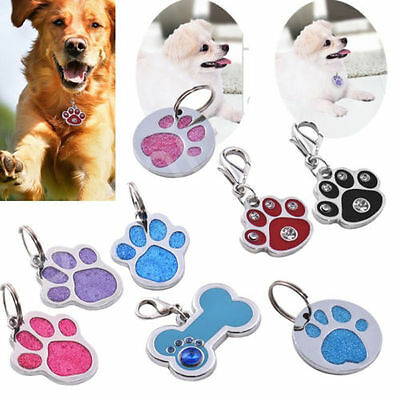 Personalised Glitter Paw Print Tag Dog Cat Pet ID Tags Pendant Reflective Hot