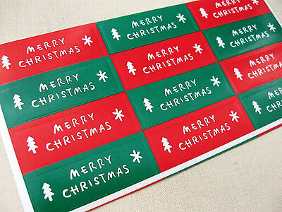 Set of 48 red and green Christmas paper stickers label - Merry Christmas