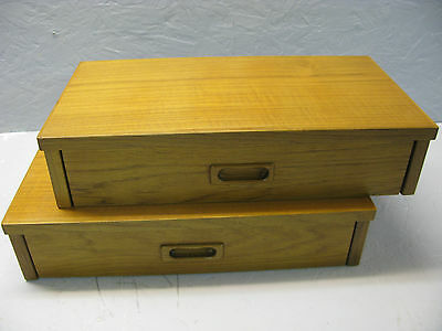 Pair Of Teak Floating Nightstands Or Foyer Shelves