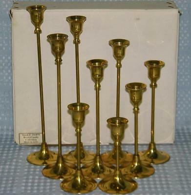 "set of (9) Graduated Brass Candlesticks Candle Holders 4.5-11"", Wedding Decor"