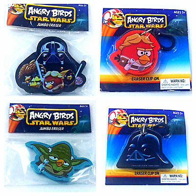 Lot of 4 Jumbo ANGRY BIRDS STAR WARS Clip On ERASER Lot Yoda Darth Vader PARTY