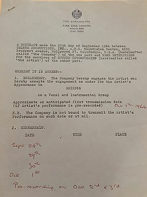BRIAN EPSTEIN Signed Autograph Contract w/notes @ Dorchester London 1964