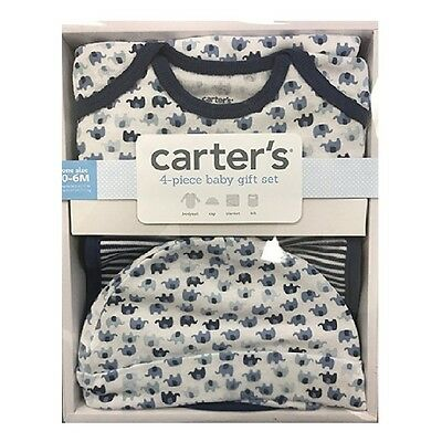 CARTER'S Baby Infant Boys 4 Piece Layette Bodysuit Hat Blanket Bib - 0-6 Months