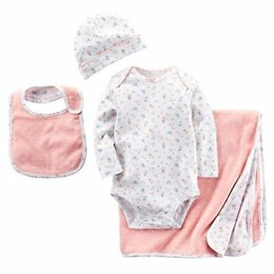 CARTER'S Baby Infant Girls 4 Piece Layette Bodysuit Hat Blanket Bib 0-6 Months