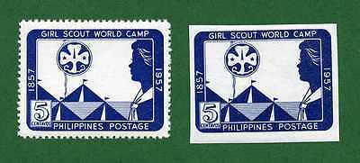 Philippines Sc 637,Girl Scout World Camp, Perf and Imperf, 1957, MPH
