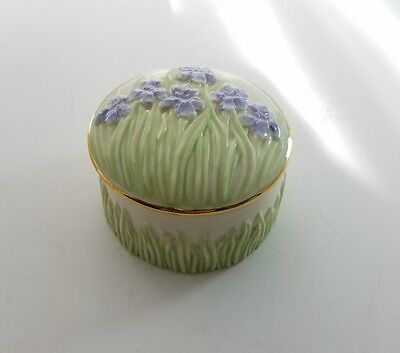 Lenox  shaped porcelain trinket box adorned with flowers and grass purple greenL