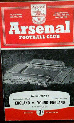 England V Young England 6/5/1960 @ Arsenal 4 Pages