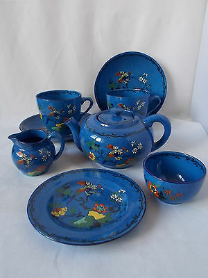 Stunning Very Colourful Blue Adderleys Art Deco Teaset