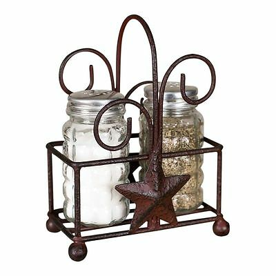 "Antiqued Star Salt and Pepper Shaker Caddy with Ball Feet Glass Shakers 4"" x 6"""