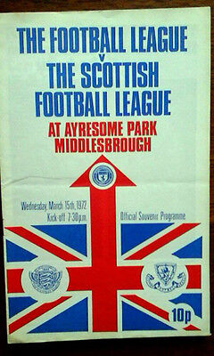 The Football League V Scottish League 15/3/1972 @ Middlesbrough