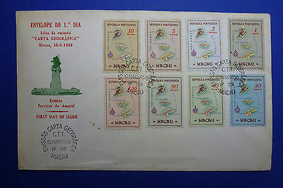 Lot 12021 Timbres Stamp Enveloppe Cartographie Macao Macau Annee 1956