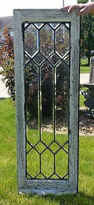 """Antique Large 47"""" Leaded Glass Beveled Window Geometric Architectural Salvage"""