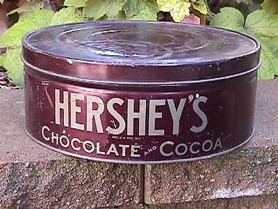 Vintage HERSHEYS Cocoa CHOCOLATE Large 12 inch x 5 inch CIRCULAR Tin CAN + LID