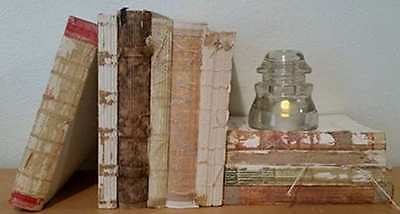 LOT 10 UNCOVERED RAW UNBOUND Antique & Vintage Books Decorative FRENCH DECOR Set