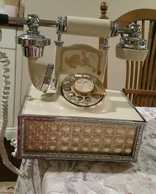 Rotary Dial Telephone Victorian French Princess Desk Phone Honeycmb Eames Chrome