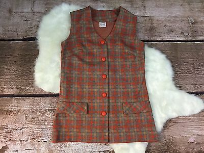 Womens Vintage Button Up Orange Plaid Vest by Graff