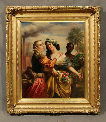 Early 20th Century Oil Painting Exquisite Detail Unique Subject of Women