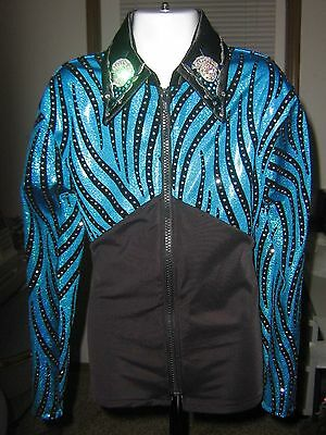 L blue black showmanship Horsemanship pleasure rail western show shirt youth