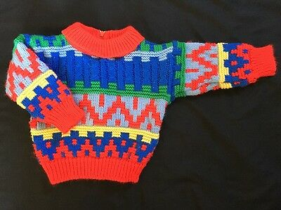 Vintage Baby Sweater   1980's Colorful Geometric   Knit   Size 3-6 Months