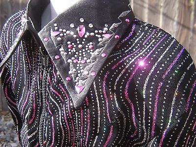 girls L PURPLE sparkl showmanship Horsemanship pleasure rail western show shirt